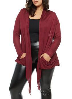 Plus Size Light Knit Cardigan - BURGUNDY - 1912054260612