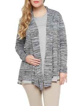 Plus Size Marled Knit Open-Front Shawl Collar Dropped Hem Cardigan,BLACK,medium