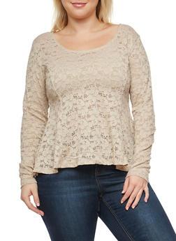 Plus Size Lace Peplum Top - 1912054260719