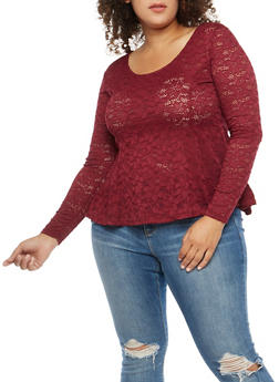 Plus Size Lace Peplum Top - 1912054260719