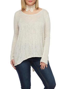 Plus Size Split Back Top with Crochet Yoke - 1912054260844