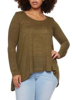 Plus Size Split Back Top with Crochet Yoke - OLIVE - 1912054260844