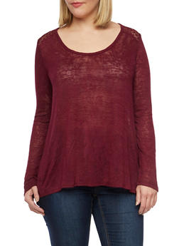 Plus Size Split Back Top with Crochet Yoke - 1912054260844