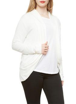 Plus Size Open-Front Shawl Collar Heathered Cardigan With Rounded Hem,IVORY,medium
