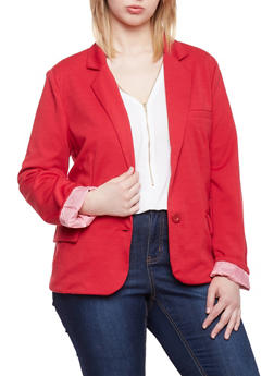 Plus Size Two Button Blazer with Contrast Lining - RED - 1912054262635