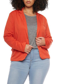 Plus Size Two Button Blazer with Contrast Lining - RUST - 1912054262635