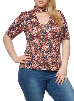 Plus Size Short Sleeve Floral Choker Top - 1912054263443