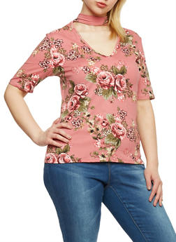 Plus Size Short Sleeve Floral Choker Top - 1912054263443