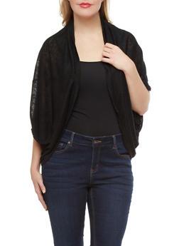 Plus Size Burnout Knit Shrug With Shawl Collar And Dolman Sleeves,BLACK,medium