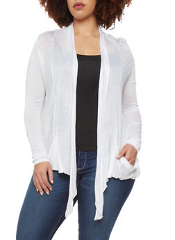 Plus Size Open Front Asymmetrical Cardigan with Two Pockets - 1912054266161