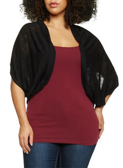 Plus Size Open Front Knit Cardigan - 1912054266400