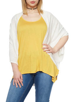 Plus Size Open Front Knit Cardigan - 1912054266400