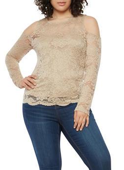 Plus Size Lace Cold Shoulder Top - 1912054267041