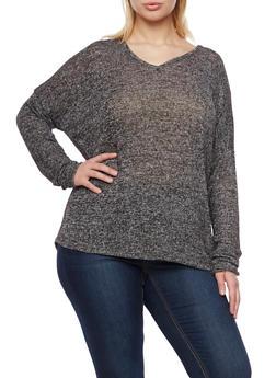 Plus Size Marled Knit V Neck Top - 1912054267848