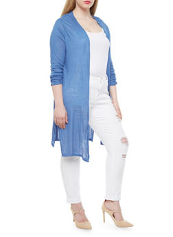 Plus Size Open Front Cardigan With High Slit Sides,BLUE DENIM,medium