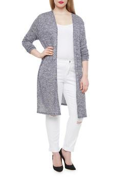 Plus Size Rib Knit Duster With High Slit Sides,NAVY,medium