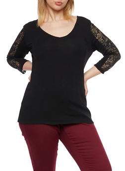 Plus Size Top with Lace Paneling and Back Cutout - 1912054268660