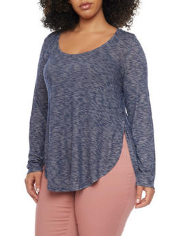 Plus Size Marled Knit Top with Scoop Neck - 1912054268701