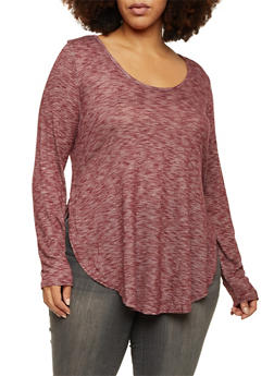 Plus Size Marled Knit Top with Scoop Neck - BURGUNDY - 1912054268701