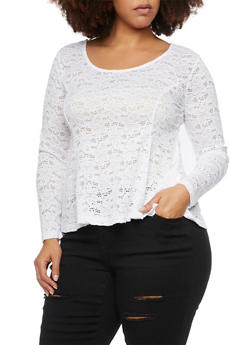 Plus Size Lace Peplum Top with Scoop Neck - WHITE - 1912054268719