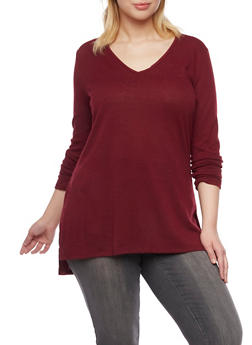 Plus Size V Neck Tunic Top with High Low Hem - 1912054269144