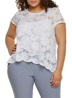 Plus Size Short Sleeve Lace Split Back Top - 1912054269325