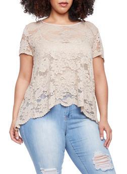 Plus Size Short Sleeve Lace Split Back Top - 1912054269325