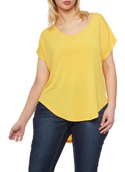 Plus Size High Low Top with Caged Back - 1912054269530