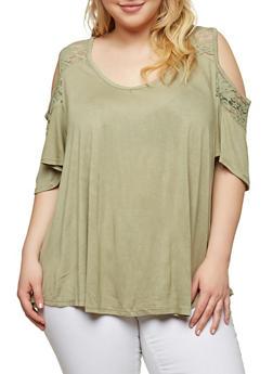 Plus Size Lace Yoke Cold Shoulder Top - 1912054269839