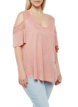 Plus Size Lace Yoke Cold Shoulder Top - 1912054269839
