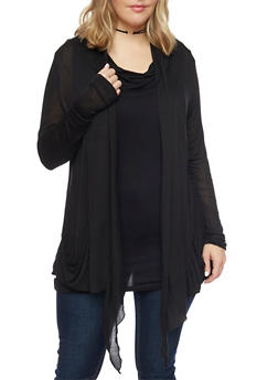 Plus Size Long Sleeve Sheer Open Front Cardigan - 1912054269916