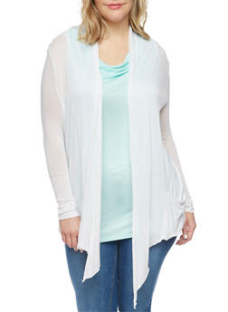 Plus Size Long Sleeve Sheer Open Front Cardigan - WHITE - 1912054269916