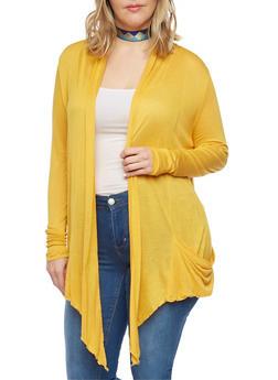 Plus Size Long Sleeve Sheer Open Front Cardigan - MUSTARD - 1912054269916