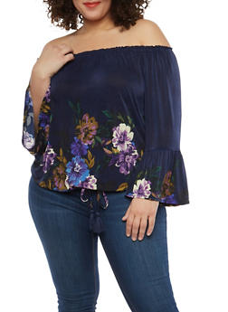 Plus Size Floral Bell Sleeve Off the Shoulder Top - 1912056122543
