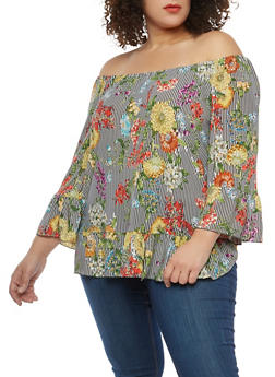 Plus Size Floral Striped Off the Shoulder Top - 1912056122546