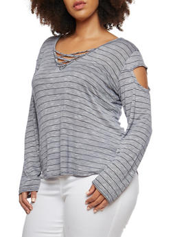 Plus Size Striped Slit Shoulder Top - 1912058750007