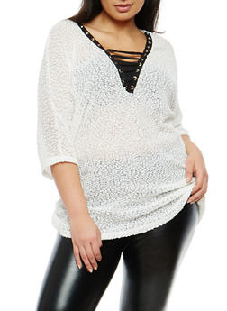 Plus Size Popcorn Knit Lace Up Top - 1912058750019