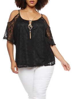 Plus Size Lace Crochet Cold Shoulder Top - 1912058750050