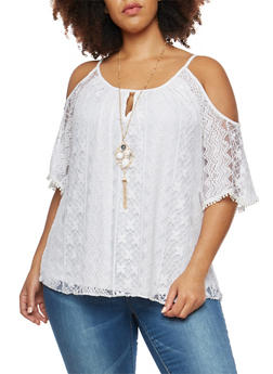 Plus Size Lace Crochet Cold Shoulder Top - WHITE - 1912058750050
