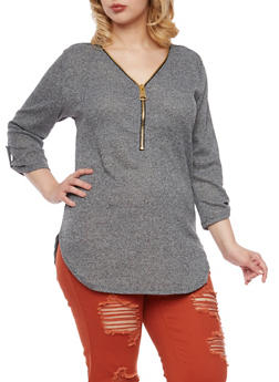 Plus Size Tunic Top with Zip V Neck - 1912058750082