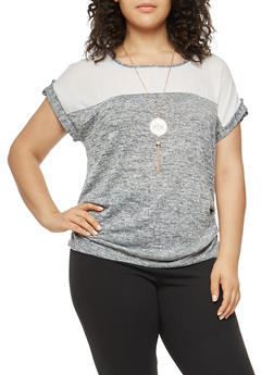 Plus Size Ruched Side Color Block Top with Necklace - 1912058750086