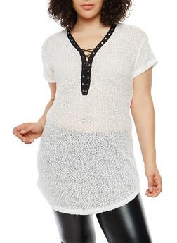 Plus Size Popcorn Knit Tunic Top - 1912058750121