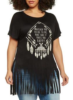 Plus Size Graphic Fringe Short Sleeve T Shirt - BLACK - 1912058750122