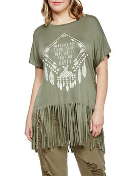 Plus Size Graphic Fringe Short Sleeve T Shirt - 1912058750122