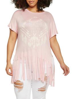 Plus Size Graphic Fringe Short Sleeve T Shirt - BLUSH - 1912058750122