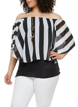 Plus Size Striped Off the Shoulder OverlayTop - 1912058750182