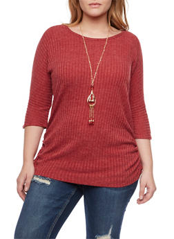 Plus Size Ribbed Top with Necklace and Ruched Sides - BURGUNDY - 1912058750218