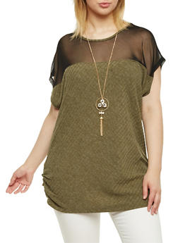 Plus Size Top with Mesh Panel and Necklace - 1912058750220