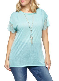 Plus Size Lace Sleeve Top with Necklace - 1912058750234