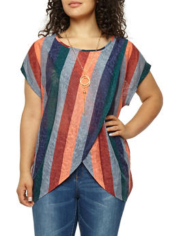 Plus Size Striped Asymmetrical Top with Necklace - 1912058750260